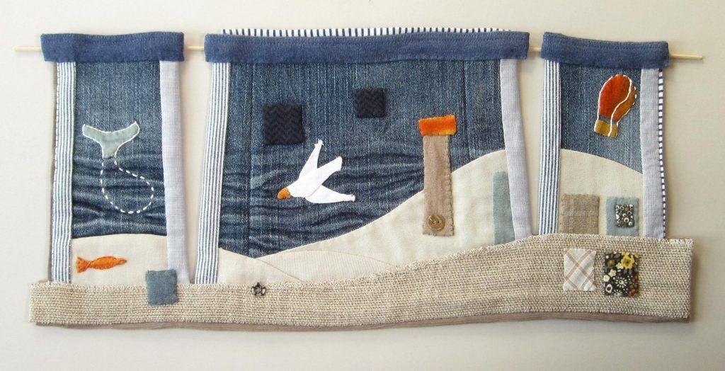 de walvis de meeuw en de luchtballon - found fabric
