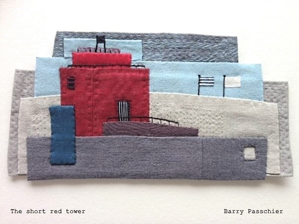 the short red tower - found fabric