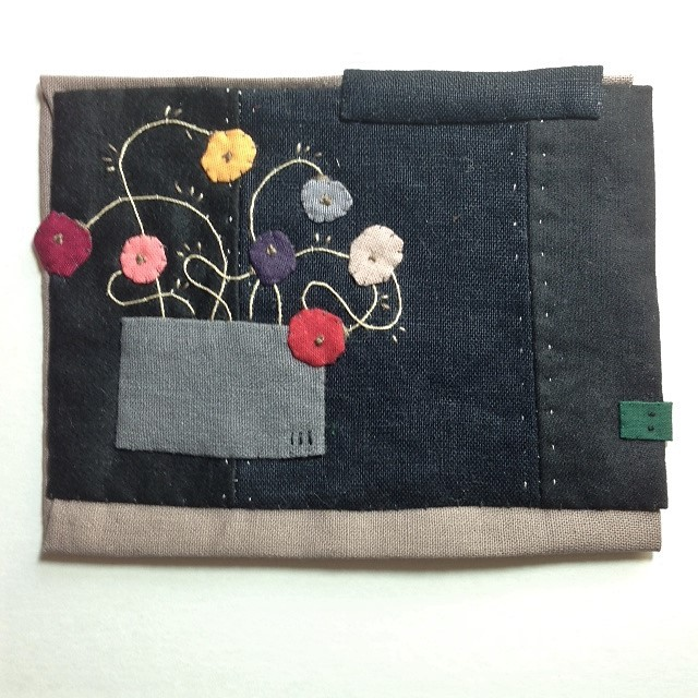 pot of flowers - found fabric